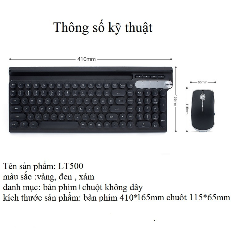 Bộ bàn phím và chuột không dây cao cấp -500 12