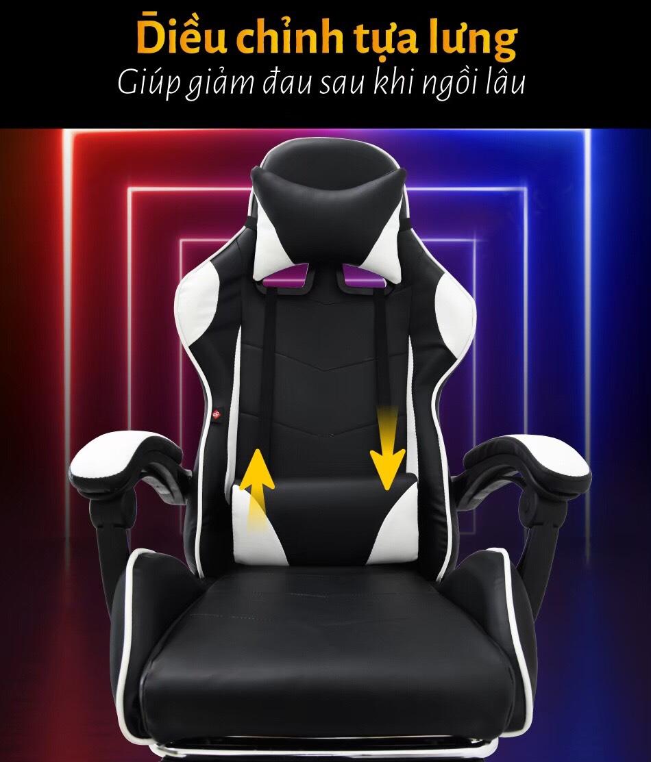 BG Ghế chơi game cao cấp dành cho các game thủ, chân xoay ngã 135 độ Mẫu E02N01 màu đỏ phối đen (Hàng nhập khẩu) 9