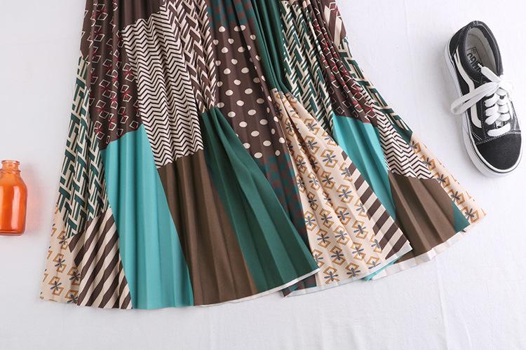 Chân váy xếp ly Vintage dáng dài chất không nhăn VAY35 phối nhiều màu (Free size) 11