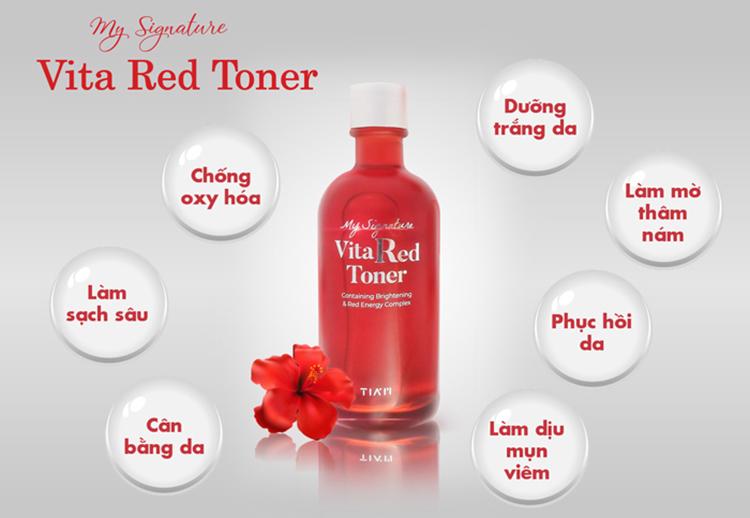 Nước Hoa Hồng Dưỡng Trắng, Se Khít Lỗ Chân Lông Tiam My Signature Vita Red Toner 130ml