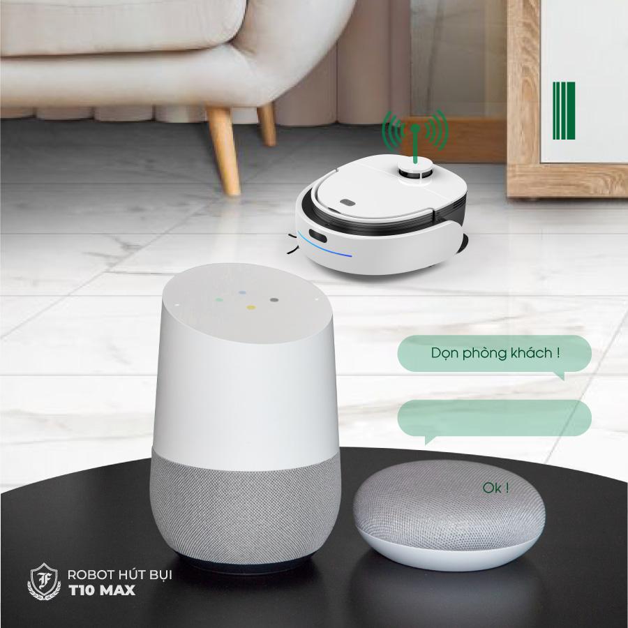 Robot hút bụi lau nhà T10 Max được tích hợp hỗ trợ điều khiển giọng nói bằng Tiếng Việt